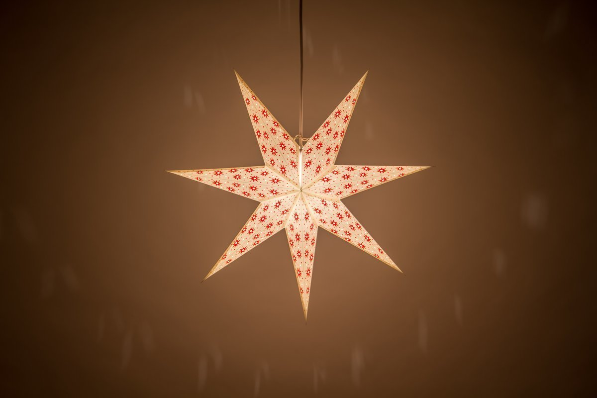7 pointed spirit norsk white and red paper star light shades. Black Bedroom Furniture Sets. Home Design Ideas