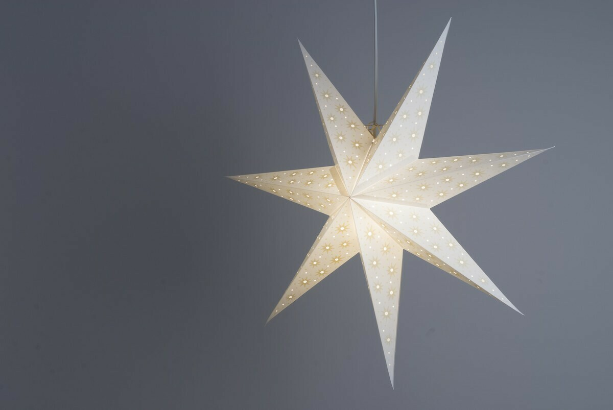 Spirit White and Parchment Paper Star Light Shades & Lanterns Lit Up