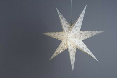 Spirit Pearl White and Oyster Grey Paper Star Light Shades & Lanterns Lit Up