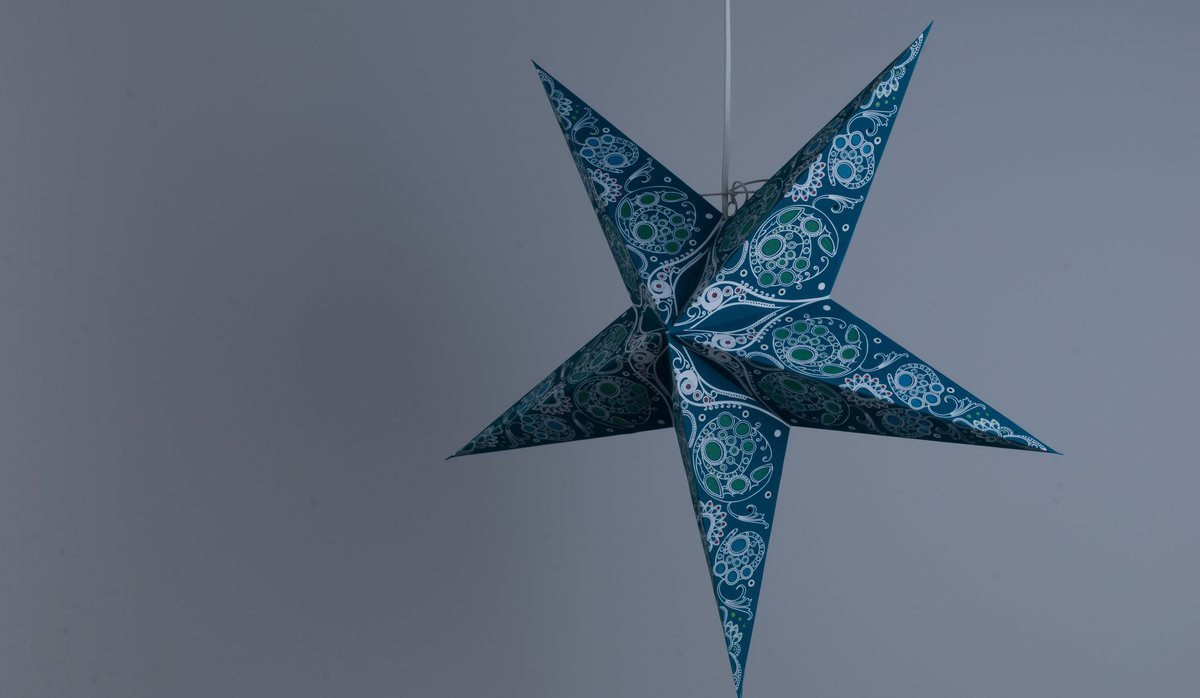 Damask Aquamarine Paper Star Party Decorations