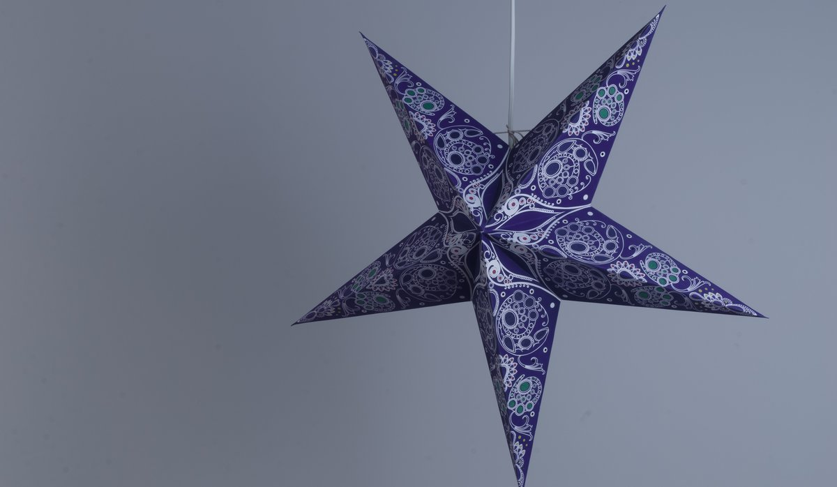 Damask Royal Violet Paper Star Party Decorations