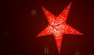 Damask Scarlet Paper Star Light Shades & Lanterns Lit Up