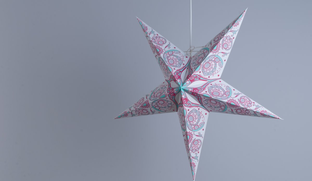 Japanese Lily Blue Jade and Rose Pink Paper Star Party Decorations