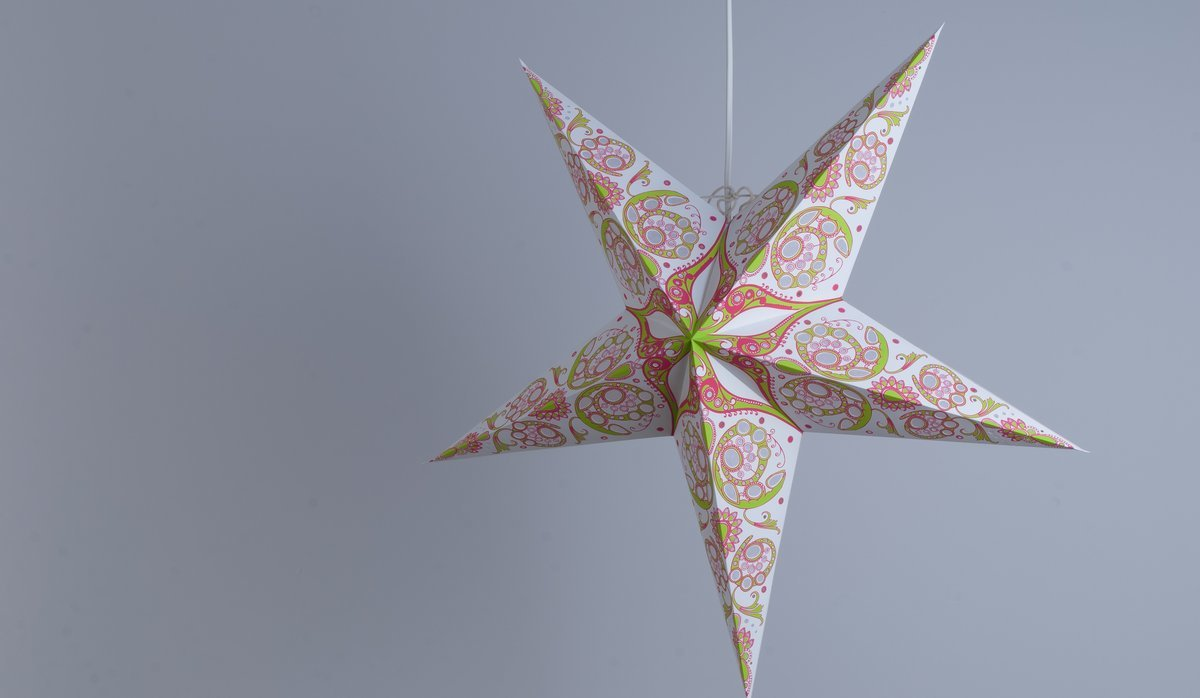 Japanese Lily Leaf Green and Cherry Blossom Pink Paper Star Party Decorations