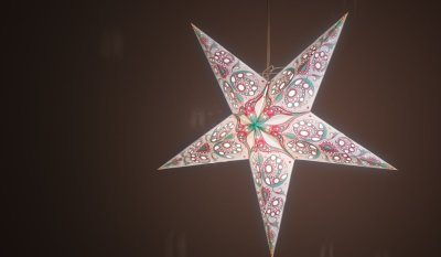 Japanese Lily Blue Jade and Rose Pink Paper Star Light Shades & Lanterns Lit Up