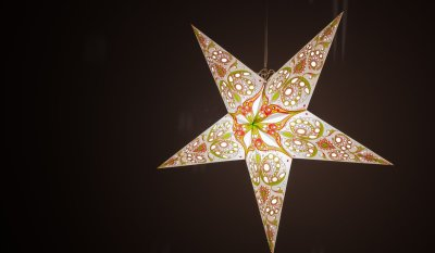 Japanese Lily Leaf Green and Cherry Blossom Pink Paper Star Light Shades & Lanterns Lit Up