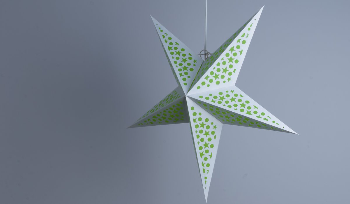 Mosaic Lime Green Paper Star Party Decorations