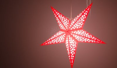 Mosaic Bright Red and White Paper Star Light Shades & Lanterns Lit Up