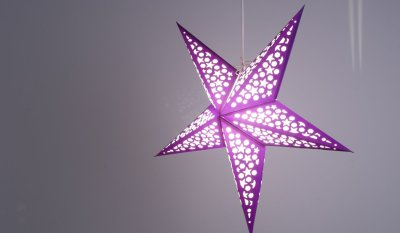 Mosaic Indigo Blue and White Paper Star Party Decorations