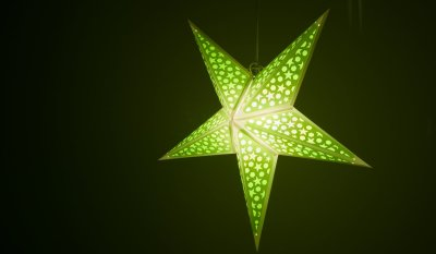 Mosaic Lime Green Paper Star Light Shades & Lanterns Lit Up