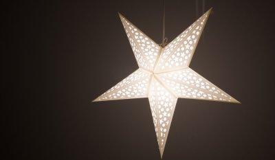 Mosaic Porcelain White Paper Star Light Shades & Lanterns Lit Up