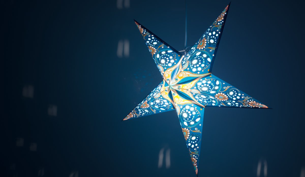 Phoenix Azure Blue Paper Star Light Shades & Lanterns Lit Up
