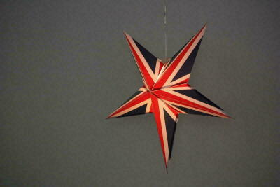 Limited Edition Union Jack Paper Star Light Shades & Lanterns Lit Up