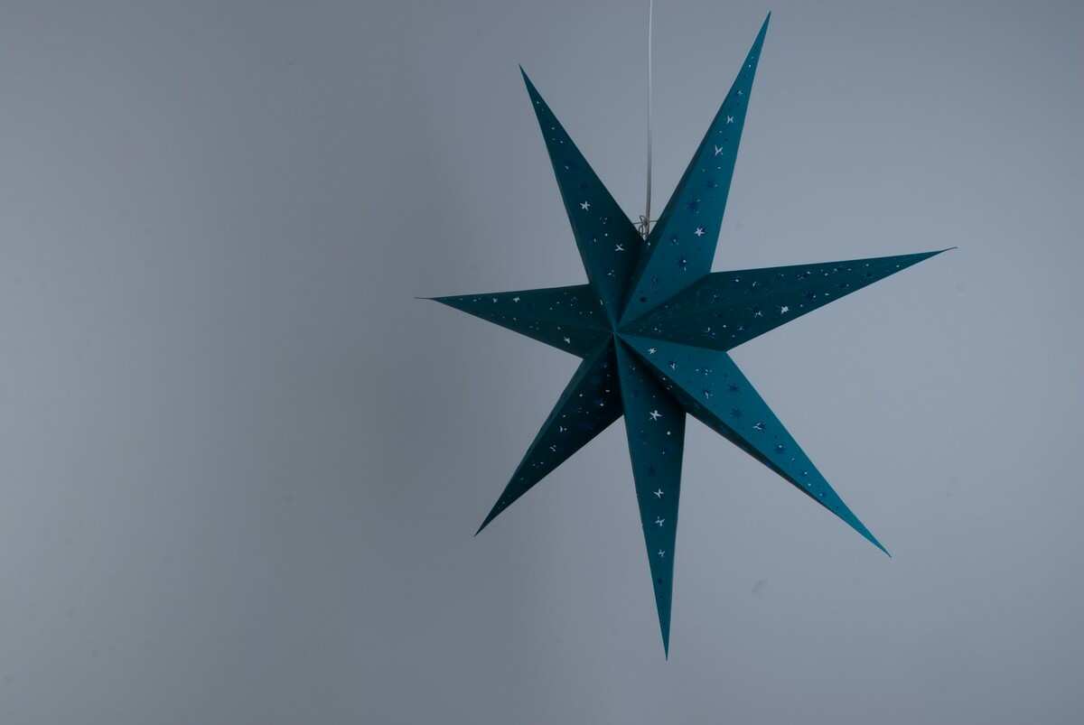 North Star Cool Teal Paper Star Party Decorations