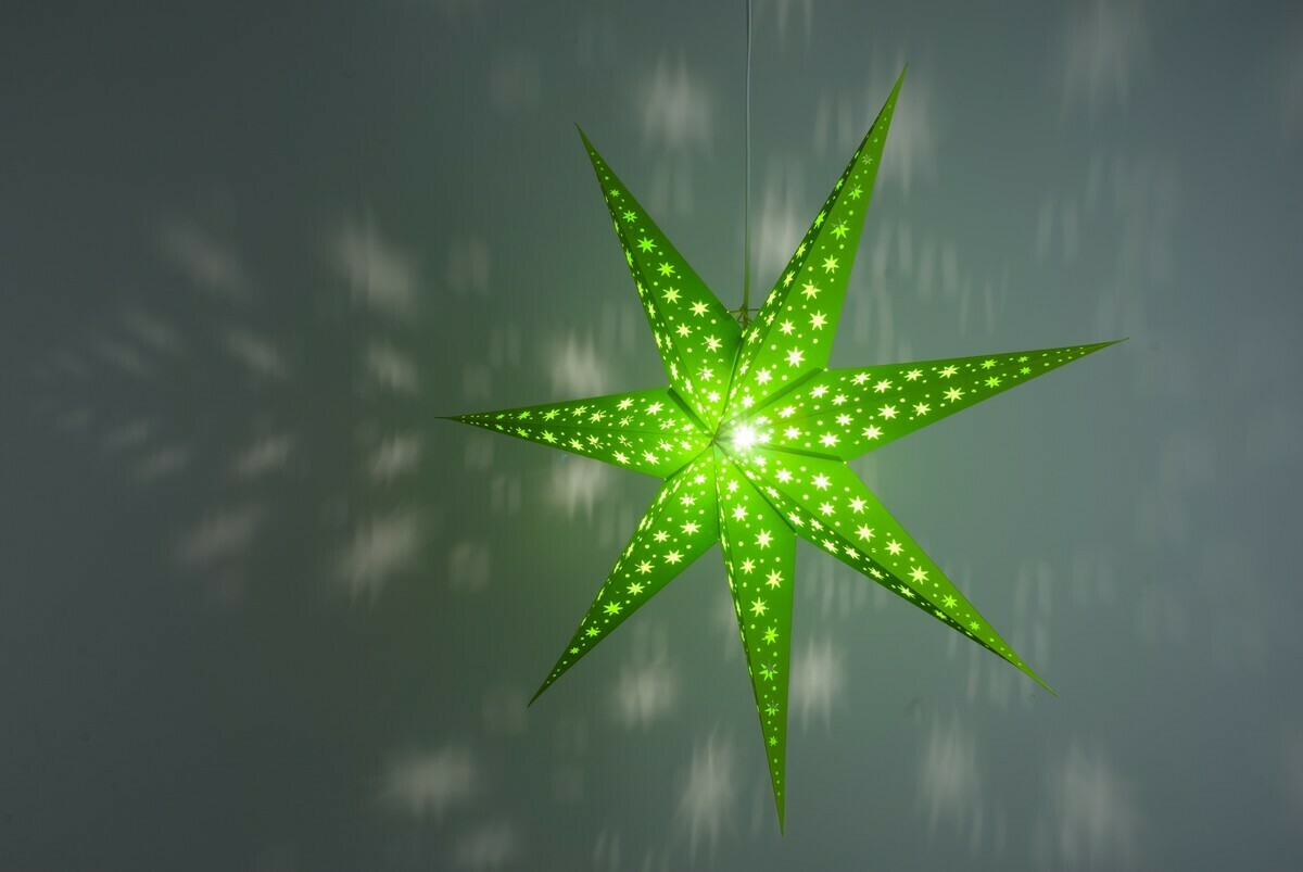 North Star Fresh Green Paper Star Light Shades & Lanterns Lit Up