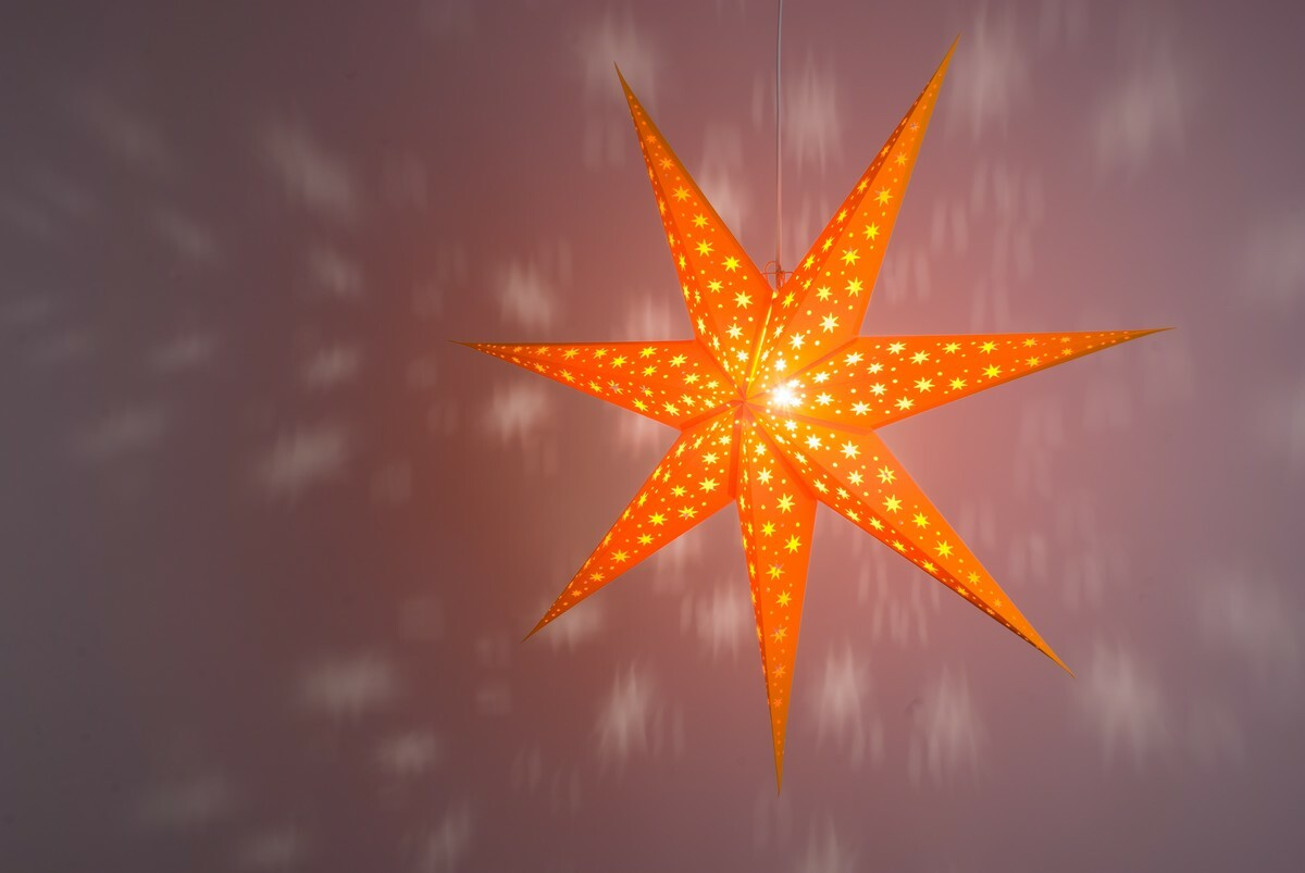 North Star Tangy Orange Paper Star Light Shades & Lanterns Lit Up