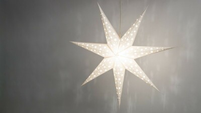 North Star Brilliant White Paper Star Light Shades & Lanterns Lit Up