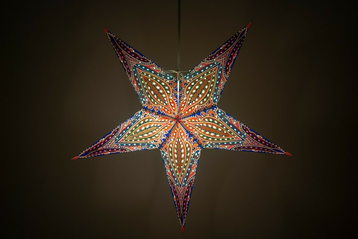 Bohemia Purple Haze Paper Star Light Shades & Lanterns Lit Up