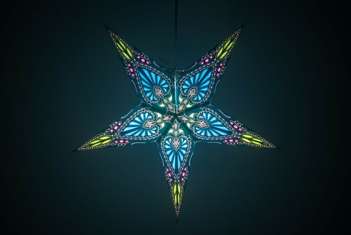 Flamenco Azure Blue Paper Star Light Shades & Lanterns Lit Up