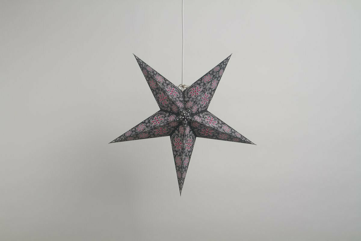 Firework Black & Pink Paper Star Party Decorations