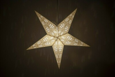 Firework Natural Stone Paper Star Light Shades & Lanterns Lit Up