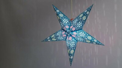 Firework Teal Paper Star Light Shades & Lanterns Lit Up